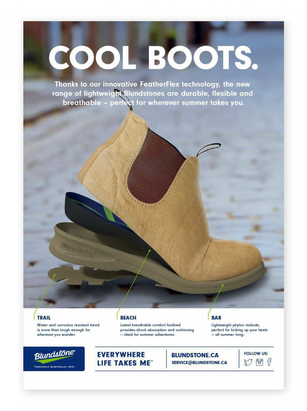 Poster with exploded image of Blundstone Summer Boots and text: Cool Boots