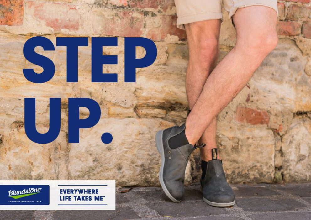Poster with man wearing Blundstone Summer Boots and text: Step Up