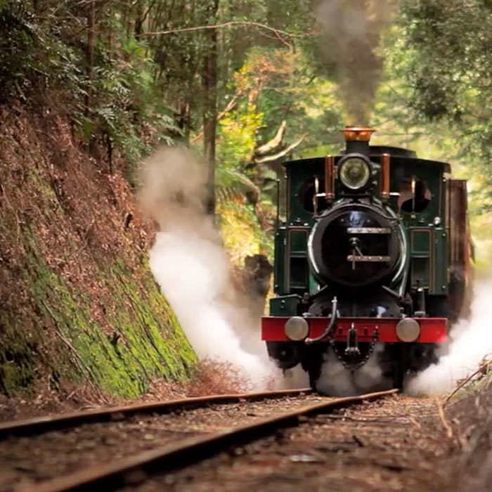 Steam train on West Coast Wilderness Railway